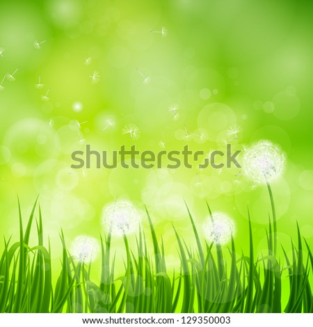 Vector Illustration of a Natural Green Background with Dandelion
