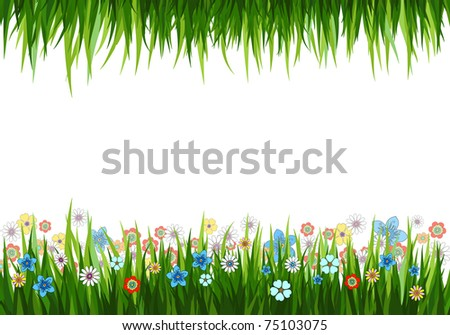 Vector illustration of a nature background with grass and flowers