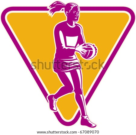 vector illustration of a netball player catching or passing ball