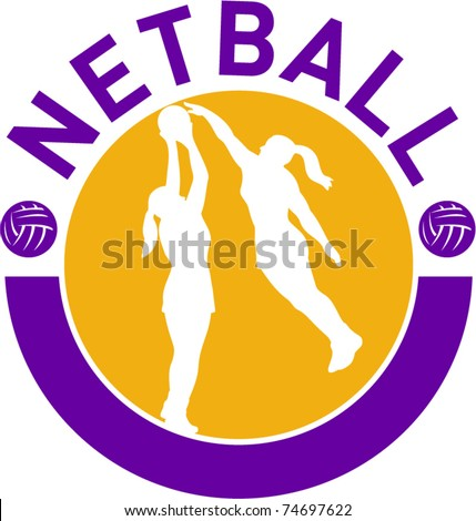 "vector illustration of a netball player shooting ball with another player blocking shot set inside circle with words ""netball"""