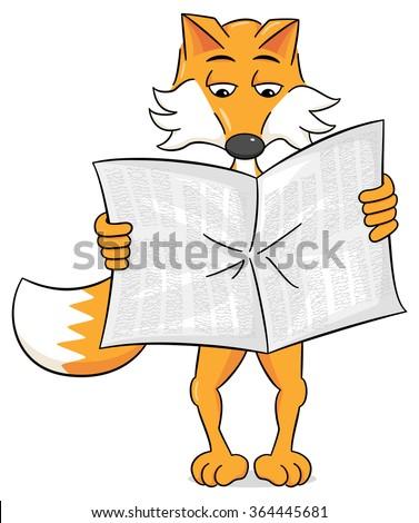 vector illustration of a newspaper reading cartoon fox