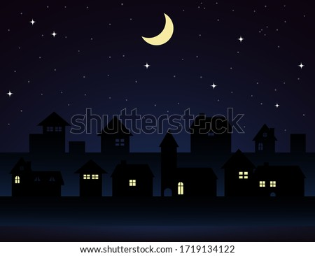 vector illustration of a night city.Vintage town at night.Night sky with moon with house silhouettes.Silhouette of the city and night sky with stars and moon.Vector EPS 10.