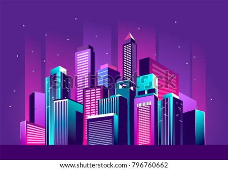 Vector illustration of a night glowing neon city a multi-storey group of buildings in a bright glow of festivities