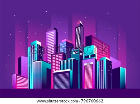 vector illustration of a night