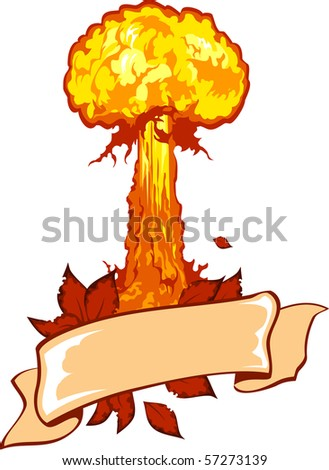 Vector illustration of a nuclear explosion with ribbon.