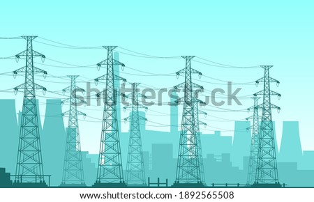Vector illustration of a nuclear power plant field. Suitable for design elements of power companies, large electrical technology, high voltage power grids. Silhouette background of power plant.