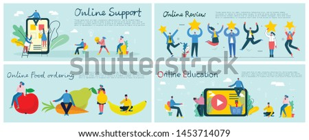 Vector illustration of a office concept. Business people in flat style. Online support, Online review, Online education  and Online food ordering concept