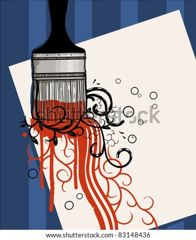 vector illustration of a paint brash with a  red paint and abstract plants on a blue background