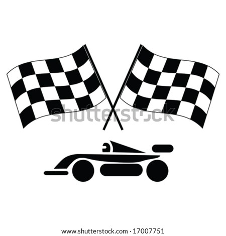 Auto Racing Checkered Flags on Vector   Vector Illustration Of A Pair Of Checkered Flags And Racing