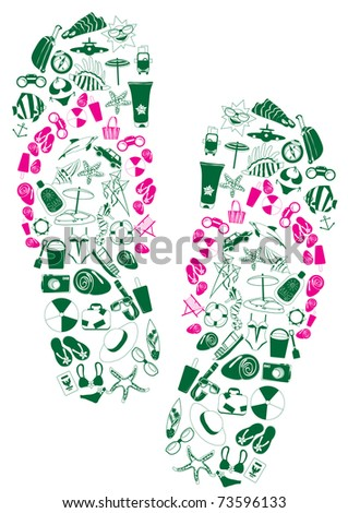 Vector illustration of a pair of flip-flops made of summer vacation icons