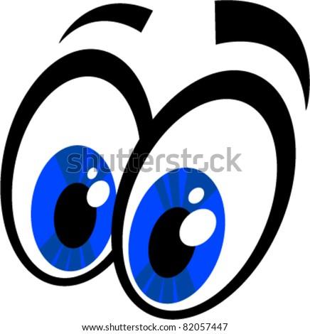 Vector illustration of a pair of surprised / excited cartoon eyes. - stock vector