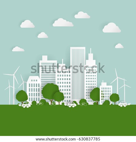 Vector Illustration of a Paper City with Trees and Clouds. Ecology Origami Concept.