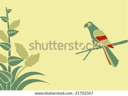 Vector Illustration of a parrot on a branch on a green background