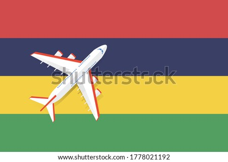 Vector Illustration of a passenger plane flying over the flag of Mauritius. Concept of tourism and travel