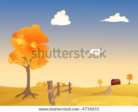 Vector illustration of a Pasture in Autumn - stock vector