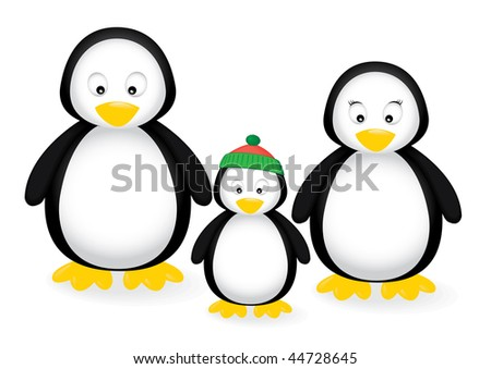 Vector illustration of a penguin family