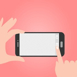 vector illustration of a person taking a photograph with a smart phone camera from a first-person perspective. With a blank screen as a template.