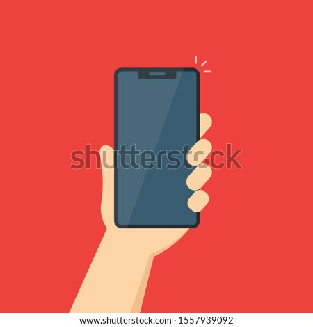vector illustration of a phone in a man's hand. isolated on white background.10 eps.