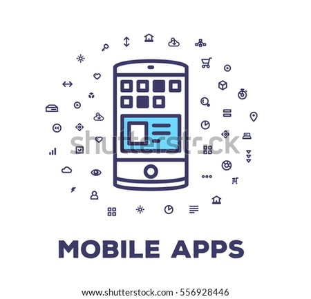 Vector illustration of a phone on white background with icon cloud. Development of mobile app creative linear concept. Flat line art style design for web, site, banner, poster, board