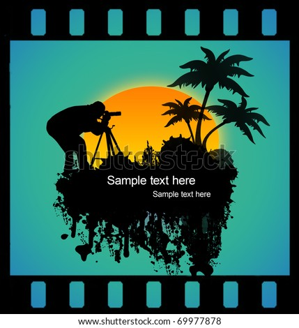 Vector illustration of a photographer shooting at tropical place on film strip
