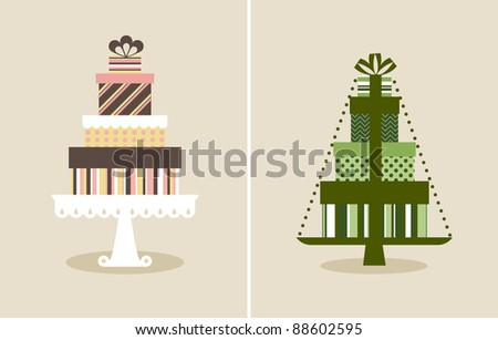 Vector illustration of a pile of gifts