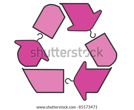 Vector illustration of a pink fashion recycle sign with clothes hangers instead of arrows.