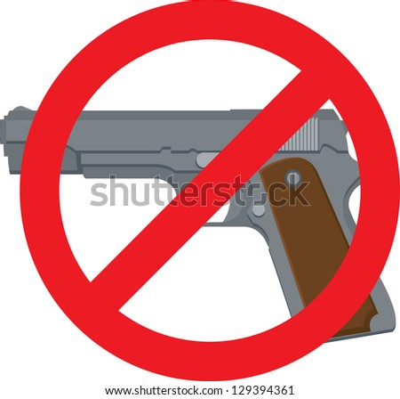 Vector Illustration of a pistol with red circle and line