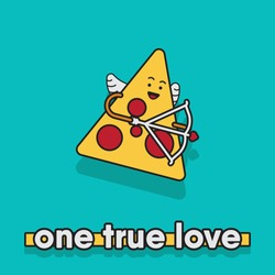 vector illustration of a pizza slice. fall in love concept for valentine's day.