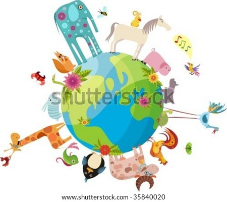 vector illustration of a planet and animals