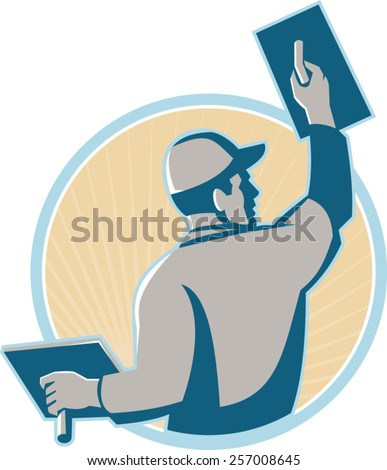 vector illustration of a plasterer construction mason worker with trowel at work set inside a circle done in retro style.