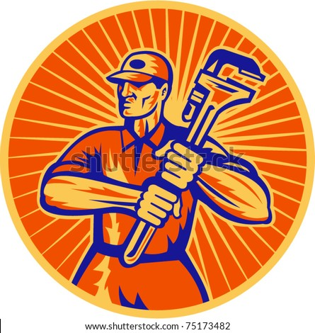vector illustration of a plumber holding a monkey wrench set inside circle done in retro woodcut style
