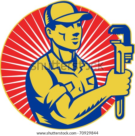 vector illustration of a Plumber holding monkey wrench standing front view set inside circle with sunburst done in retro style