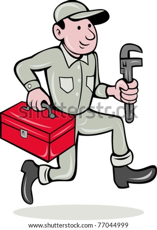 vector illustration of a plumber with monkey wrench and toolbox walking side  done in cartoon style on isolated background