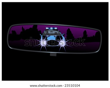vector illustration of a police car chase seen through a rear view mirror... some clipping masks used