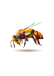 Vector illustration of a polygonal bee