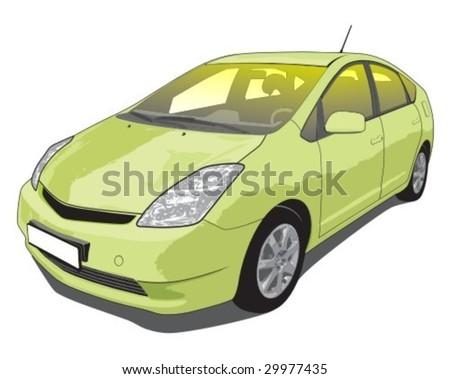 Vector illustration of a popular hybrid car.