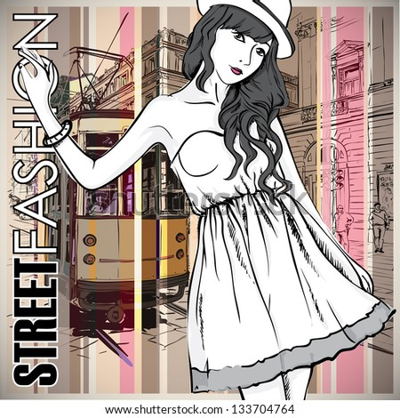 Vector illustration of a pretty fashion girl and old tram