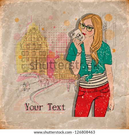 vector illustration of a pretty girl in paris. vintage style. eps10