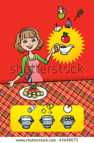Vector illustration of a pretty housewife / mom / chef showing her finished pasta dish with homemade tomato sauce. She is also showing the ingredients of her recipe and tips for cooking the pasta.