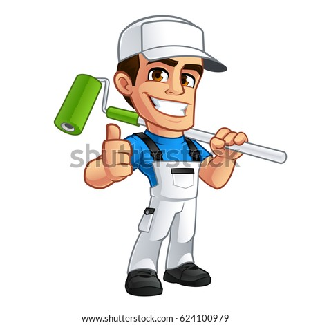 Vector illustration of a professional painter, he is dressed in working clothes