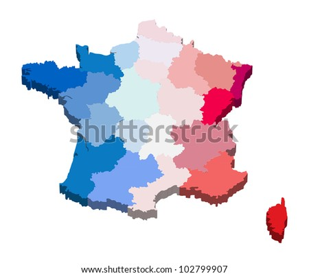 Vector illustration of a province map and flag from France
