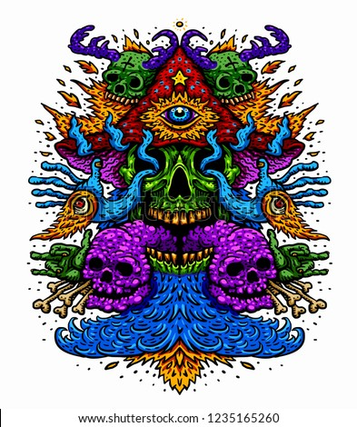 e9592a19d Vector illustration of a psychedelic magic mushroom with a third eye of a  fire-breathing