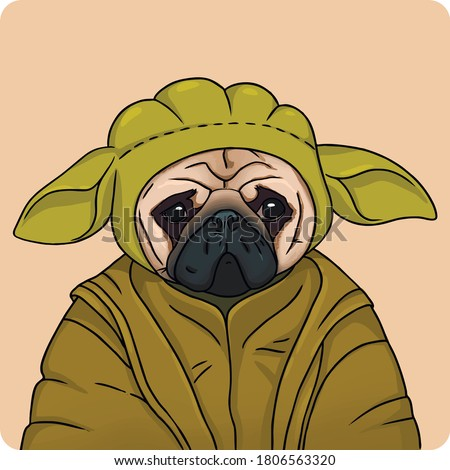 vector illustration of a pug in