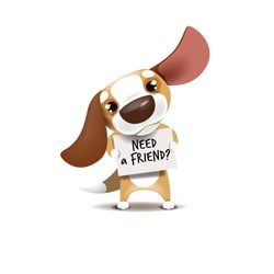 Vector illustration of a puppy standing with a banner in his hands. Puppy looking for friends.