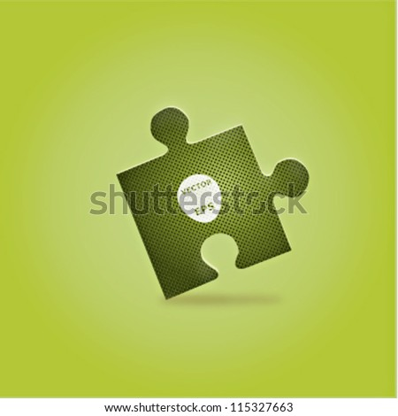 Vector illustration of a puzzle piece over green gradient