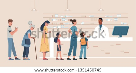 vector illustration of a queue of different people behind the counter in the pharmacy where a young pharmacist sells various medications