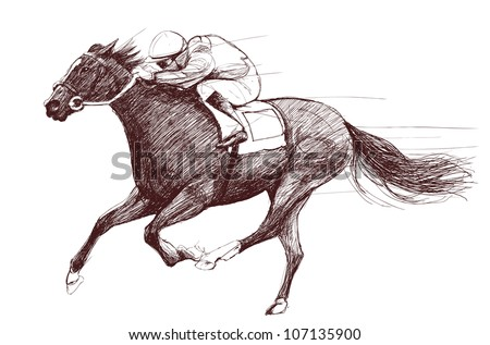Vector illustration of a racing horse and jockey