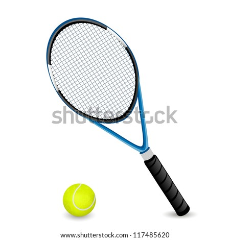 Vector Illustration of a Racket and a Ball