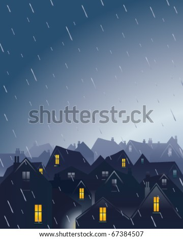 vector illustration of a rainy