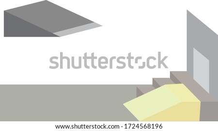 Vector Illustration of a Ramp for the Disabled, Sidewalk With Stairs and Ramp. Device for Physically Disabled people. Stockfoto ©